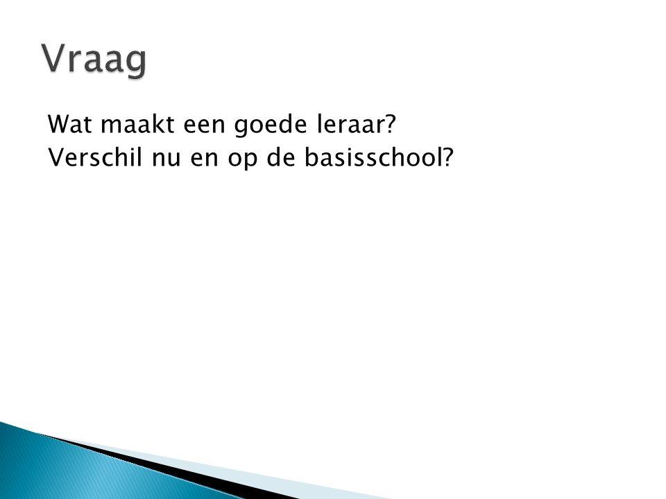 Vraag Wat maakt een goede leraar Verschil nu en op de basisschool