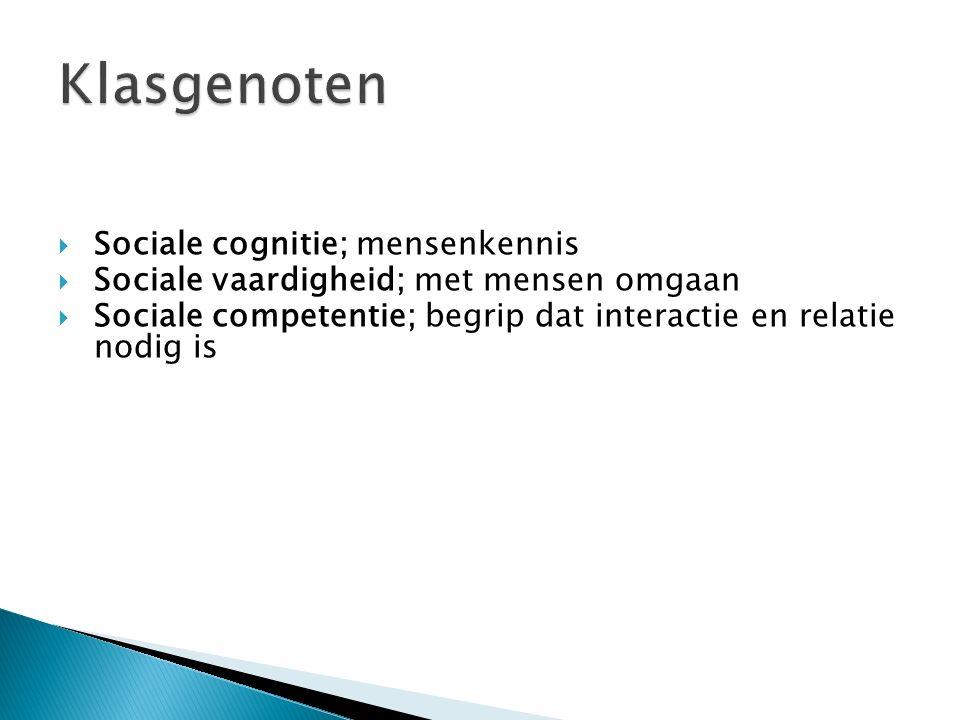 Klasgenoten Sociale cognitie; mensenkennis