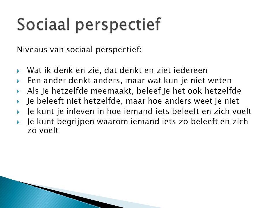 Sociaal perspectief Niveaus van sociaal perspectief: