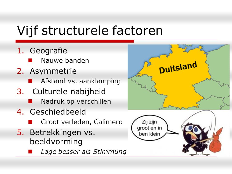 Vijf structurele factoren
