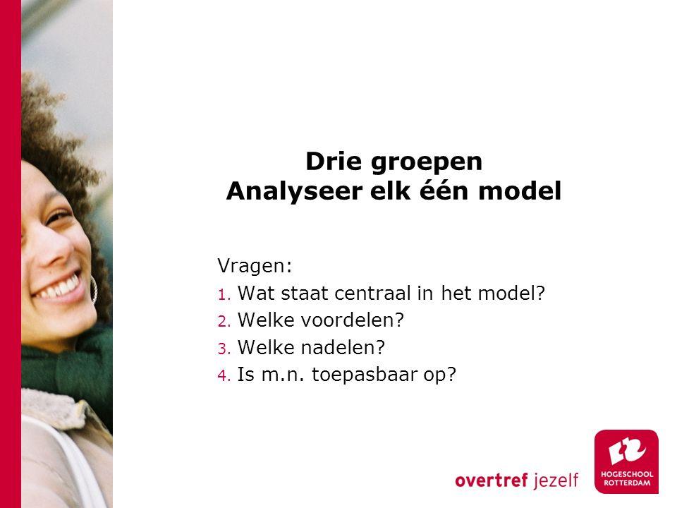 Drie groepen Analyseer elk één model