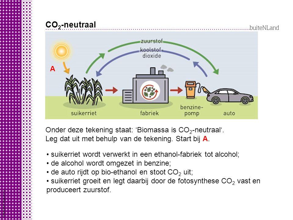 CO2-neutraal A Onder deze tekening staat: 'Biomassa is CO2-neutraal'.