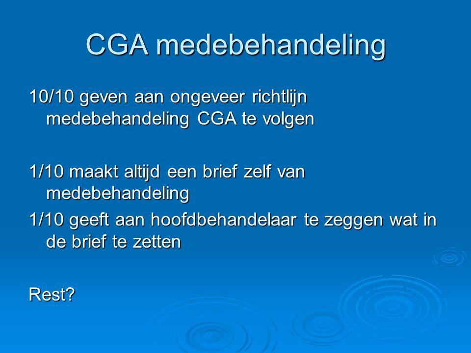 CGA medebehandeling 10/10 geven aan ongeveer richtlijn medebehandeling CGA te volgen. 1/10 maakt altijd een brief zelf van medebehandeling.