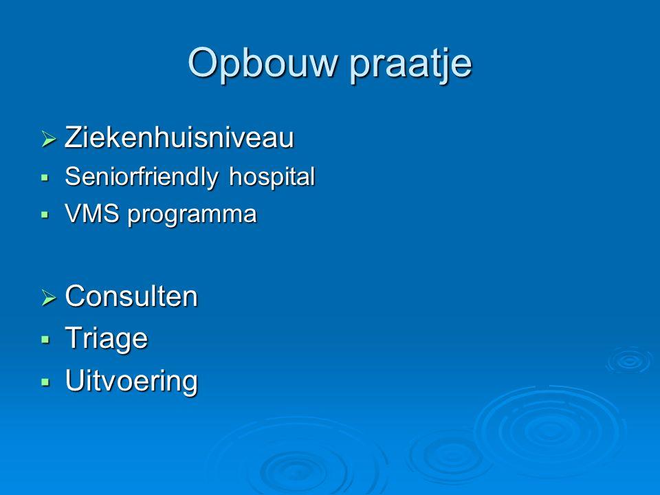 Opbouw praatje Ziekenhuisniveau Consulten Triage Uitvoering