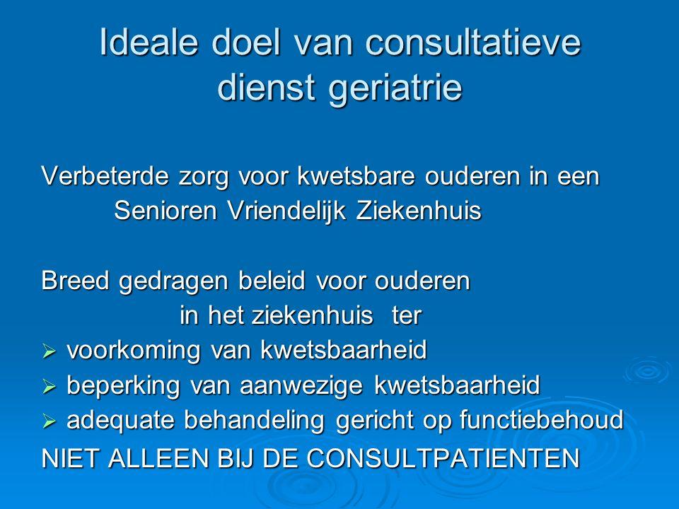 Ideale doel van consultatieve dienst geriatrie