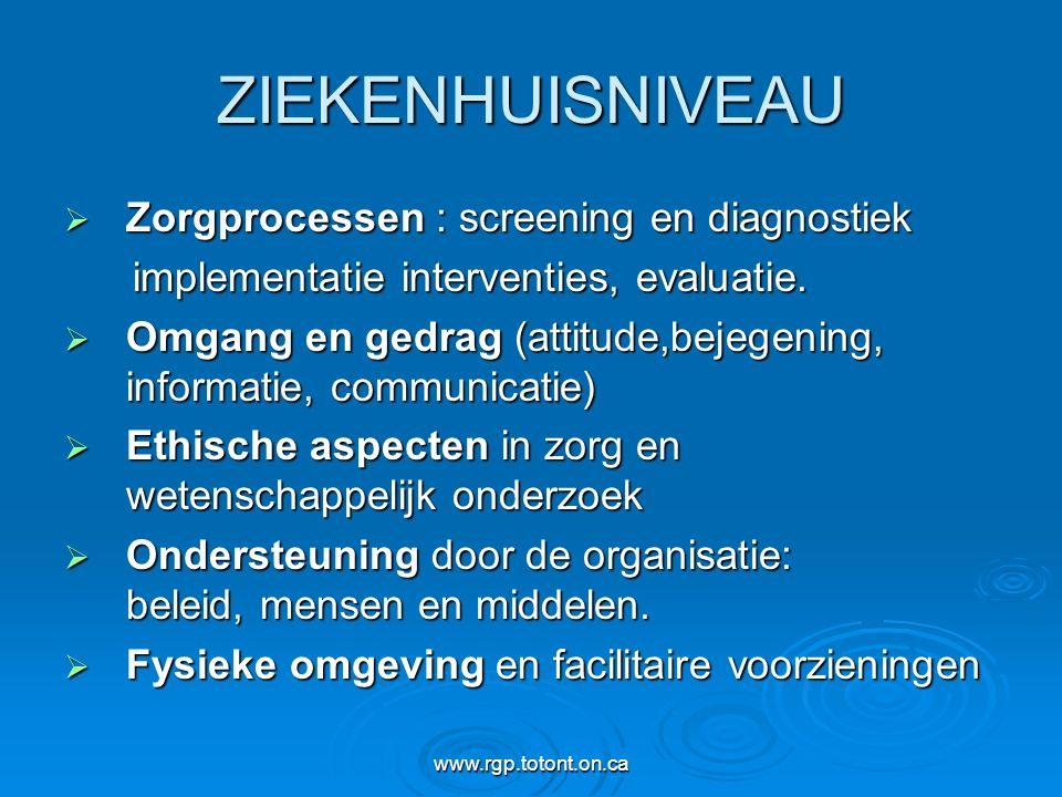 ZIEKENHUISNIVEAU Zorgprocessen : screening en diagnostiek