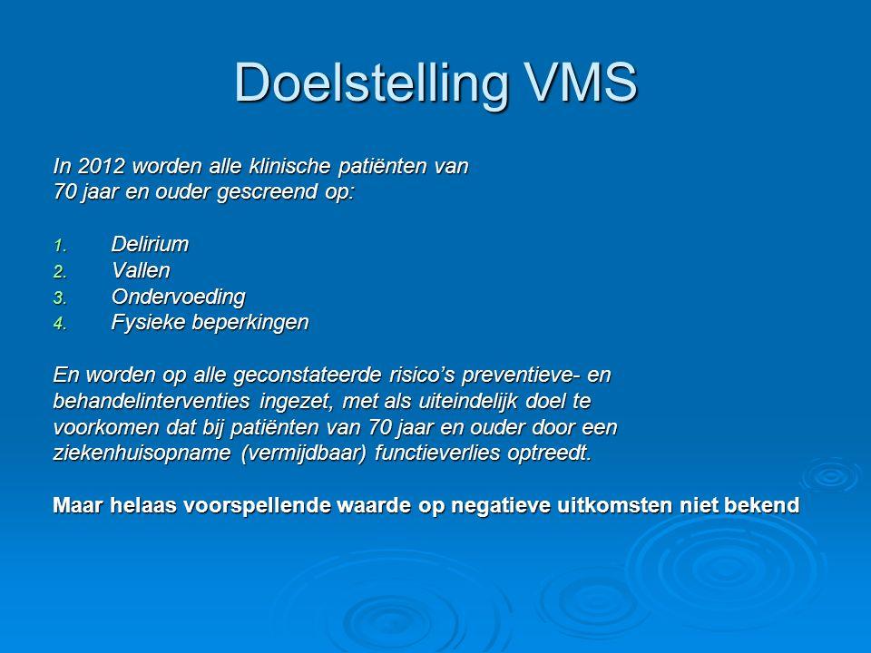 Doelstelling VMS In 2012 worden alle klinische patiënten van