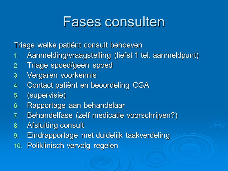 Fases consulten Triage welke patiënt consult behoeven