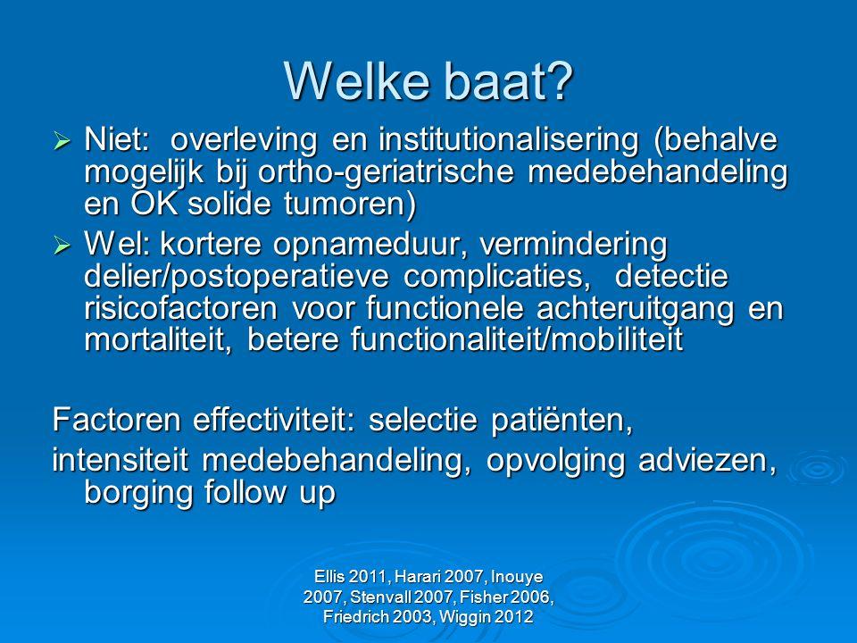 Welke baat Niet: overleving en institutionalisering (behalve mogelijk bij ortho-geriatrische medebehandeling en OK solide tumoren)