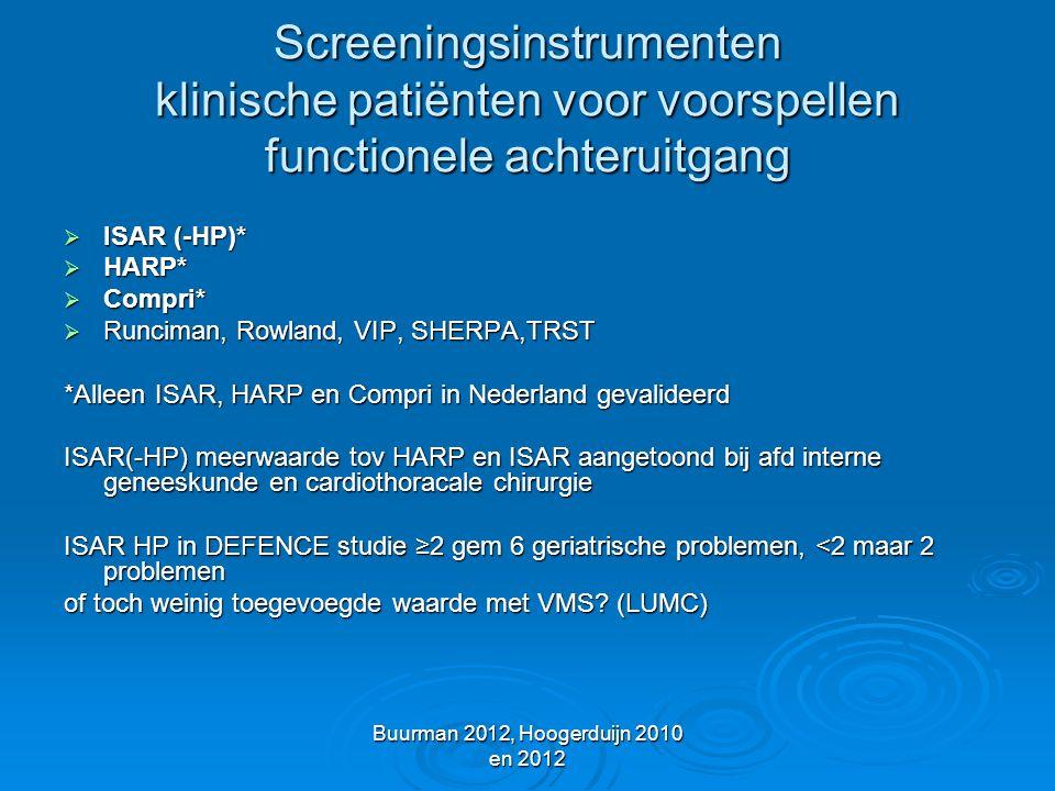 Buurman 2012, Hoogerduijn 2010 en 2012