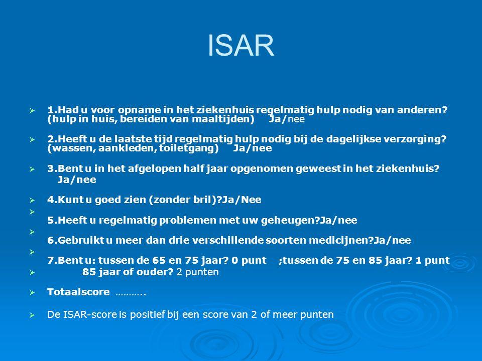ISAR 1.Had u voor opname in het ziekenhuis regelmatig hulp nodig van anderen (hulp in huis, bereiden van maaltijden) Ja/nee.