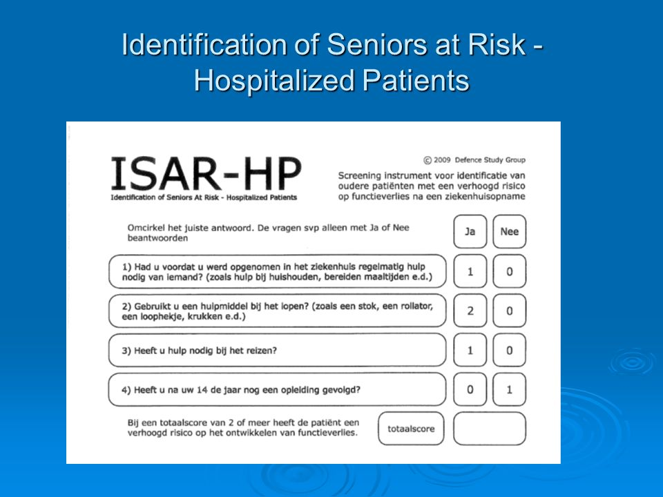 Identification of Seniors at Risk - Hospitalized Patients