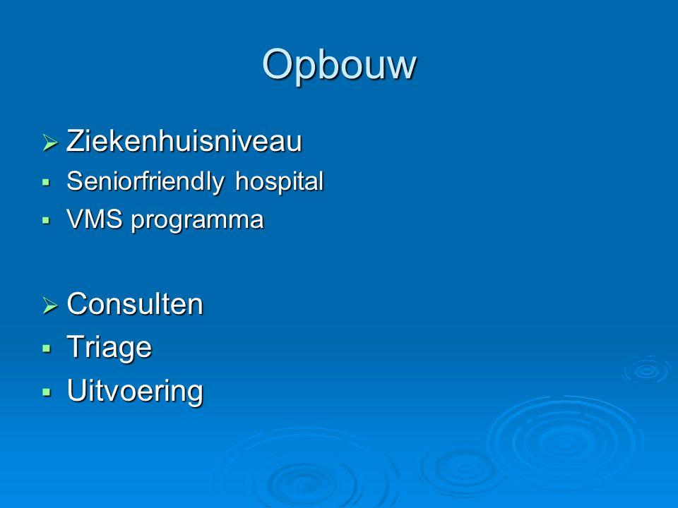 Opbouw Ziekenhuisniveau Consulten Triage Uitvoering