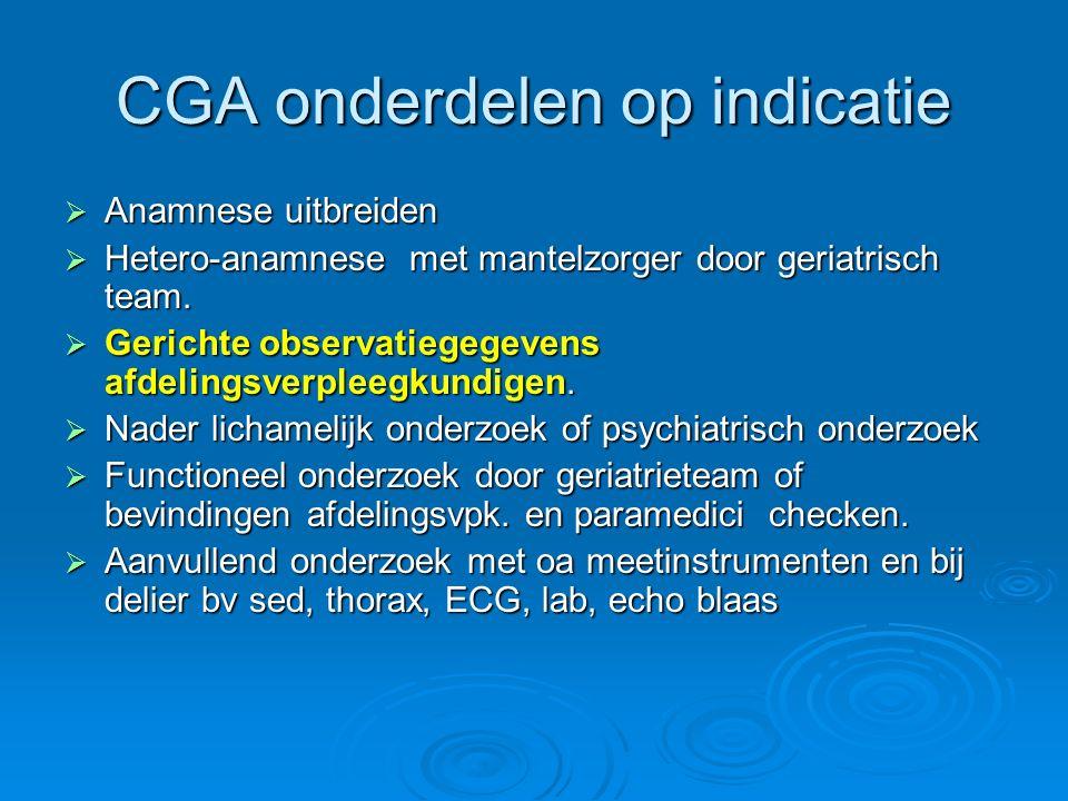 CGA onderdelen op indicatie