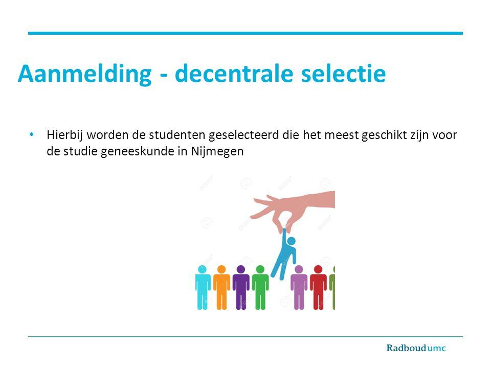 Aanmelding - decentrale selectie
