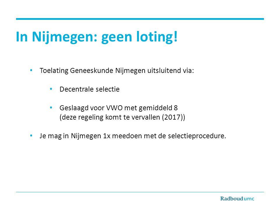 In Nijmegen: geen loting!