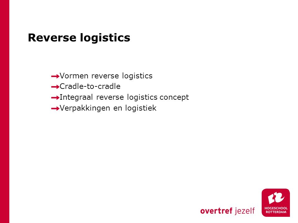 Reverse logistics Vormen reverse logistics Cradle-to-cradle