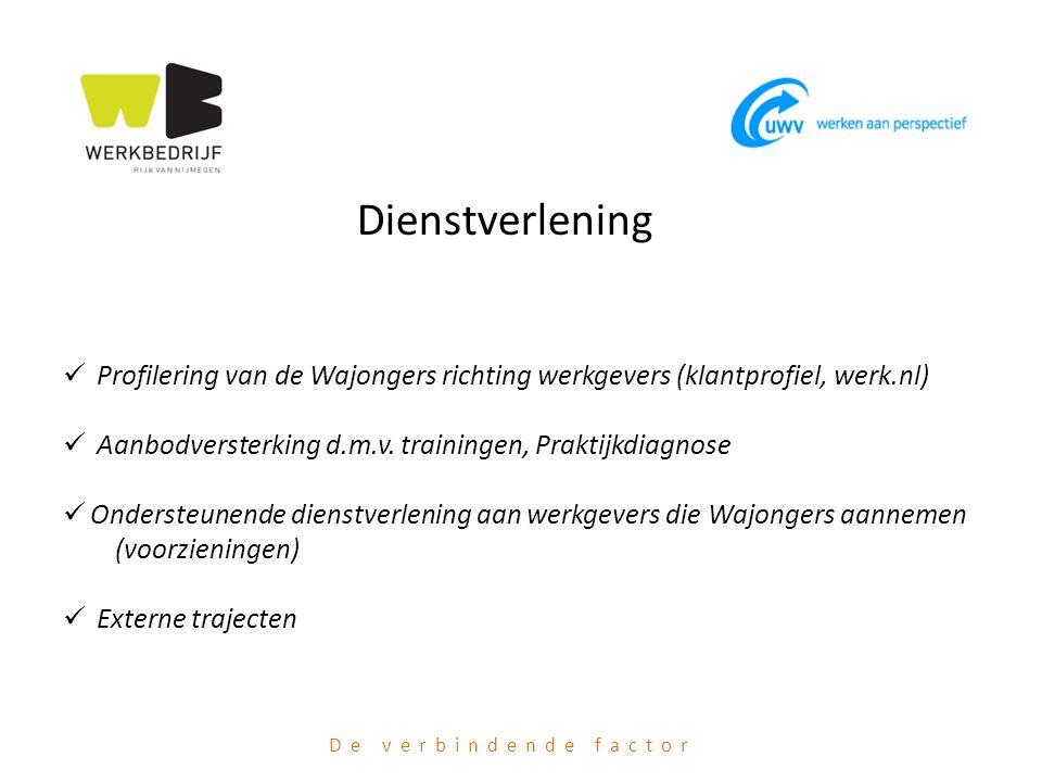 Dienstverlening Profilering van de Wajongers richting werkgevers (klantprofiel, werk.nl) Aanbodversterking d.m.v. trainingen, Praktijkdiagnose.