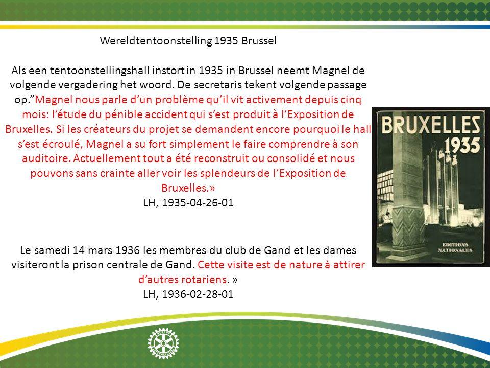 Wereldtentoonstelling 1935 Brussel Als een tentoonstellingshall instort in 1935 in Brussel neemt Magnel de volgende vergadering het woord.