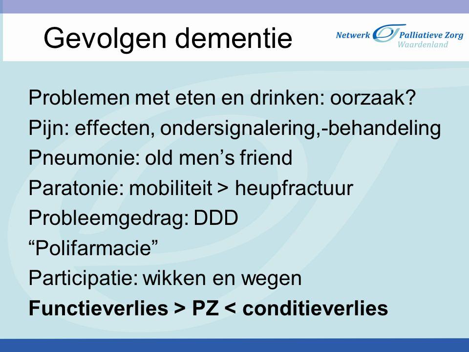 Gevolgen dementie Problemen met eten en drinken: oorzaak