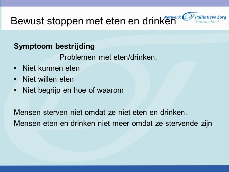 Bewust stoppen met eten en drinken