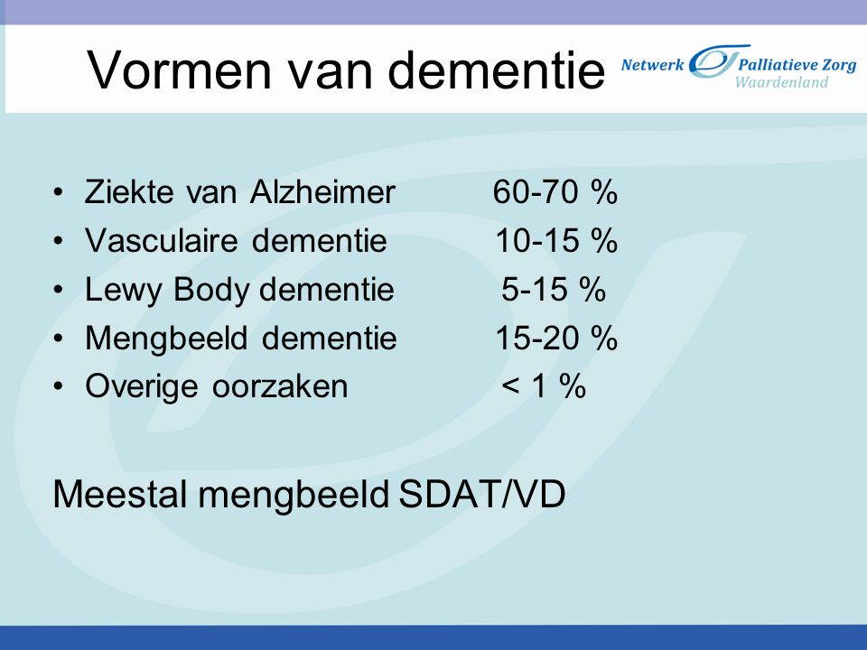 Vormen van dementie Meestal mengbeeld SDAT/VD