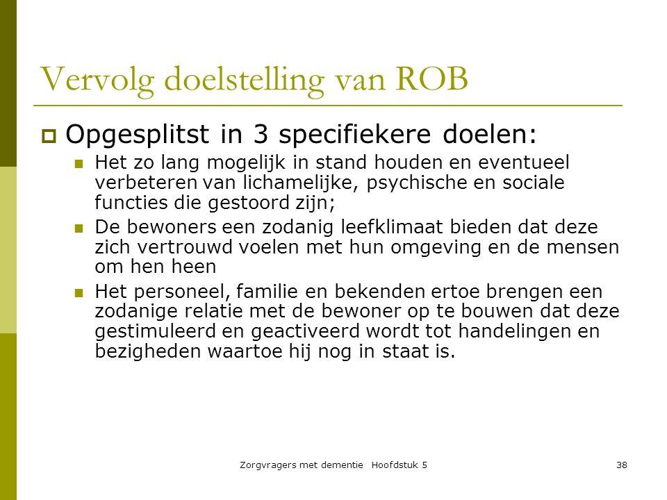 Vervolg doelstelling van ROB