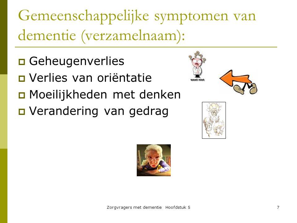 Gemeenschappelijke symptomen van dementie (verzamelnaam):