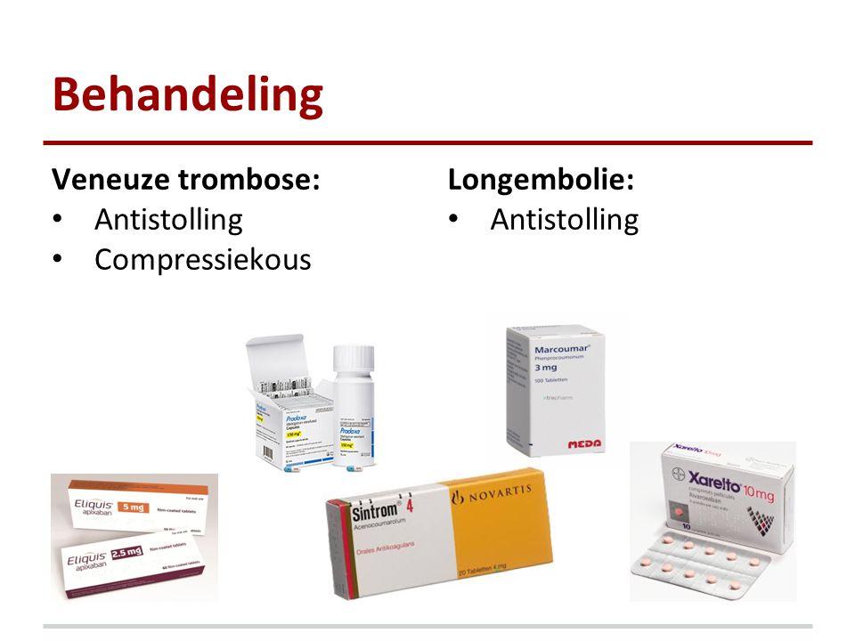 Behandeling Veneuze trombose: Antistolling Compressiekous Longembolie: