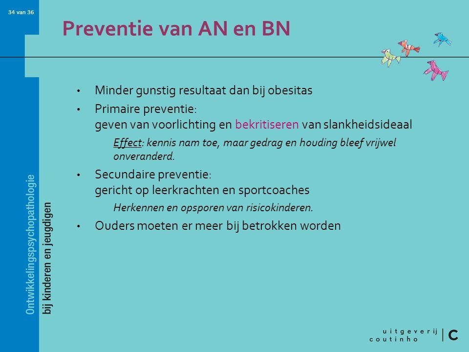 Preventie van AN en BN Minder gunstig resultaat dan bij obesitas