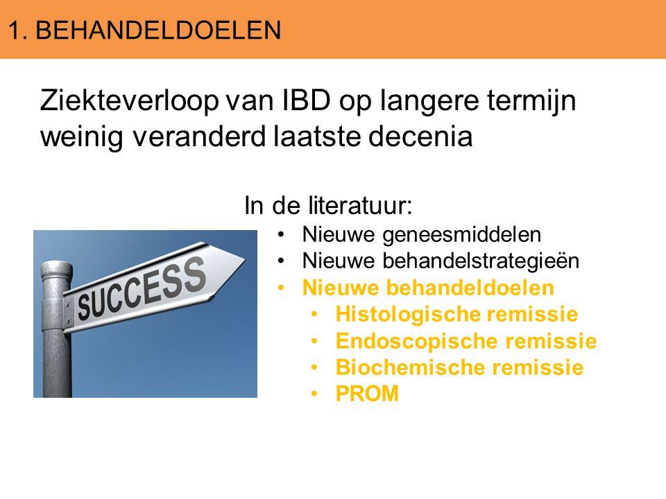 1. BEHANDELDOELEN Ziekteverloop van IBD op langere termijn weinig veranderd laatste decenia In de literatuur: