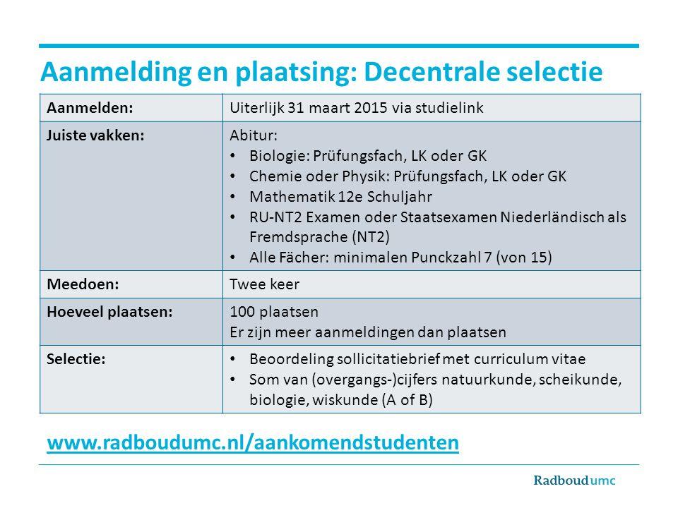 Aanmelding en plaatsing: Decentrale selectie