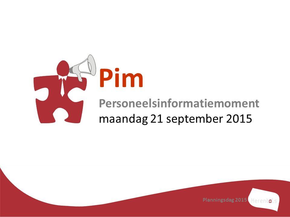 Pim Personeelsinformatiemoment maandag 21 september 2015