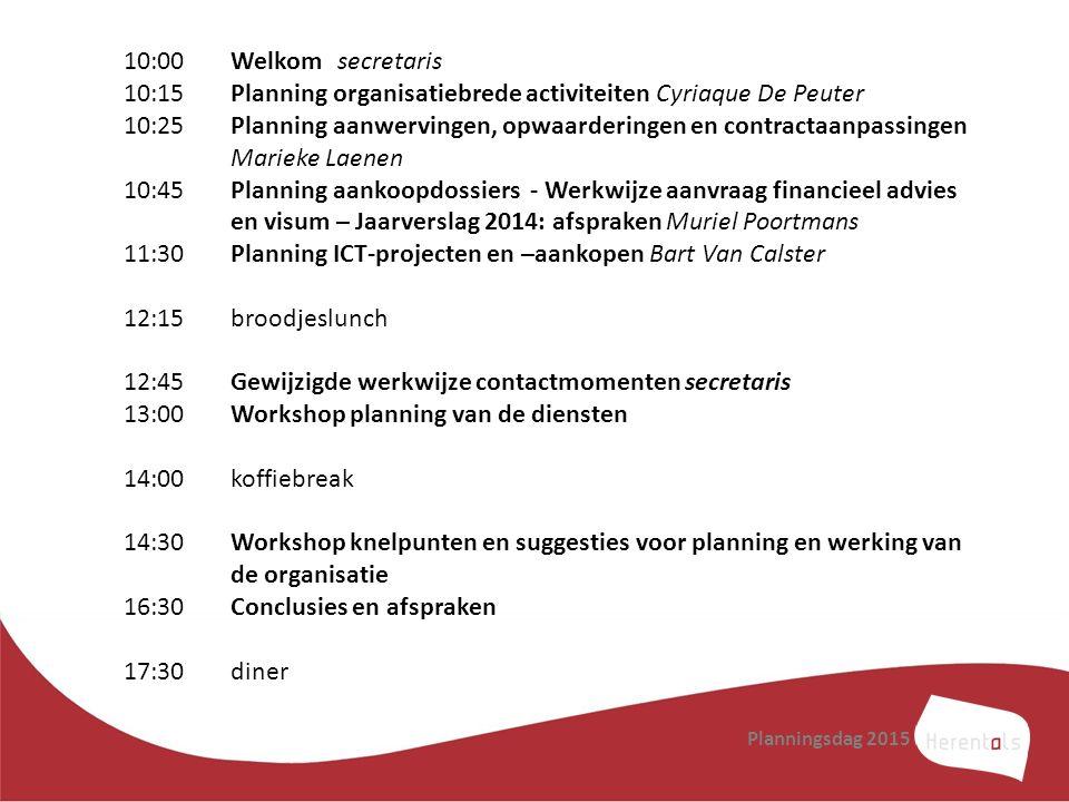 10:15 Planning organisatiebrede activiteiten Cyriaque De Peuter