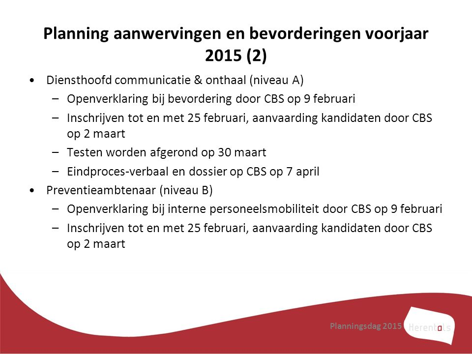 Planning aanwervingen en bevorderingen voorjaar 2015 (2)