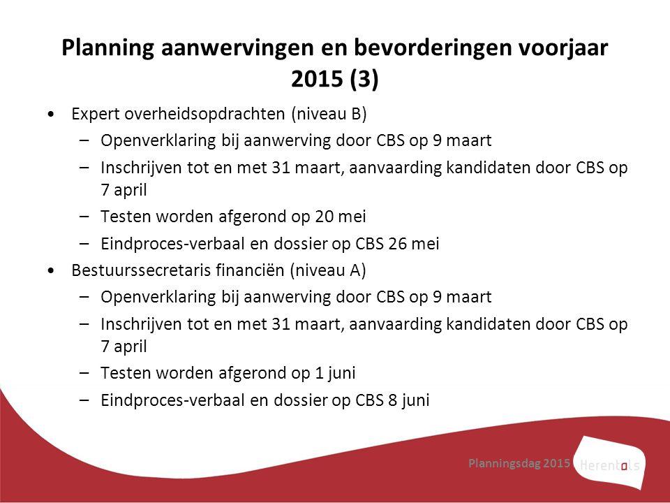 Planning aanwervingen en bevorderingen voorjaar 2015 (3)
