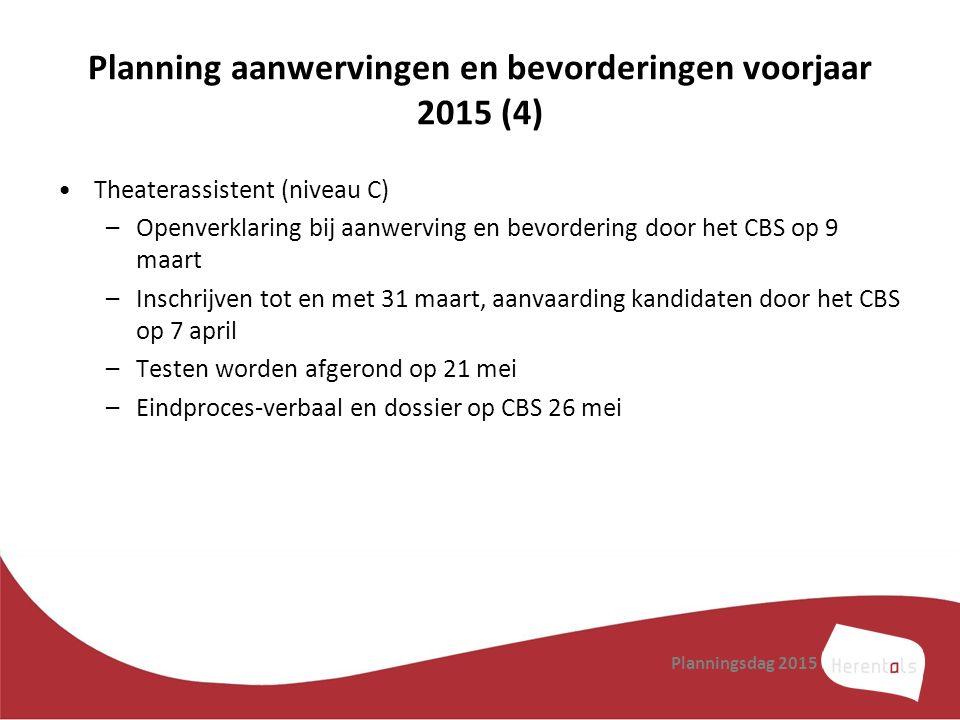 Planning aanwervingen en bevorderingen voorjaar 2015 (4)