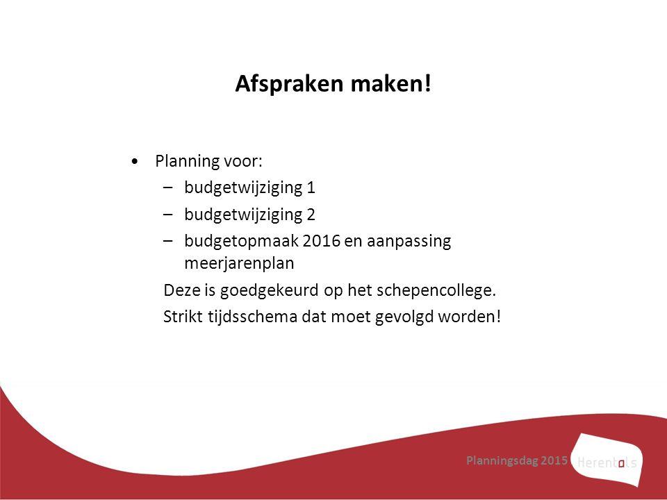 Afspraken maken! Planning voor: budgetwijziging 1 budgetwijziging 2