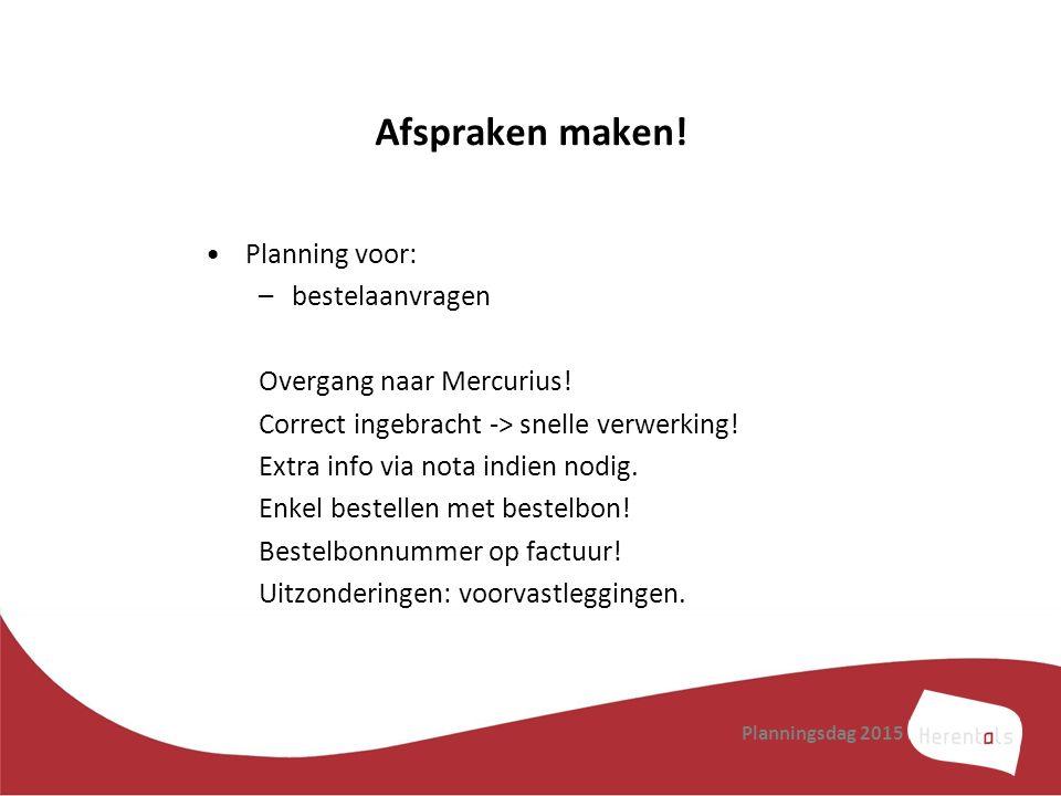 Afspraken maken! Planning voor: bestelaanvragen