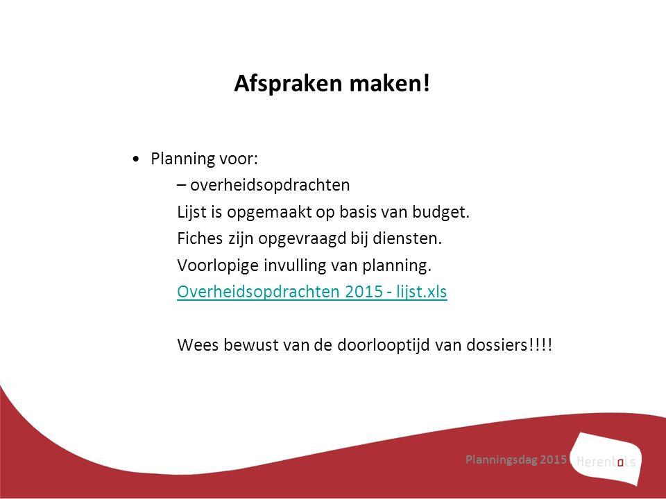 Afspraken maken! Planning voor: overheidsopdrachten