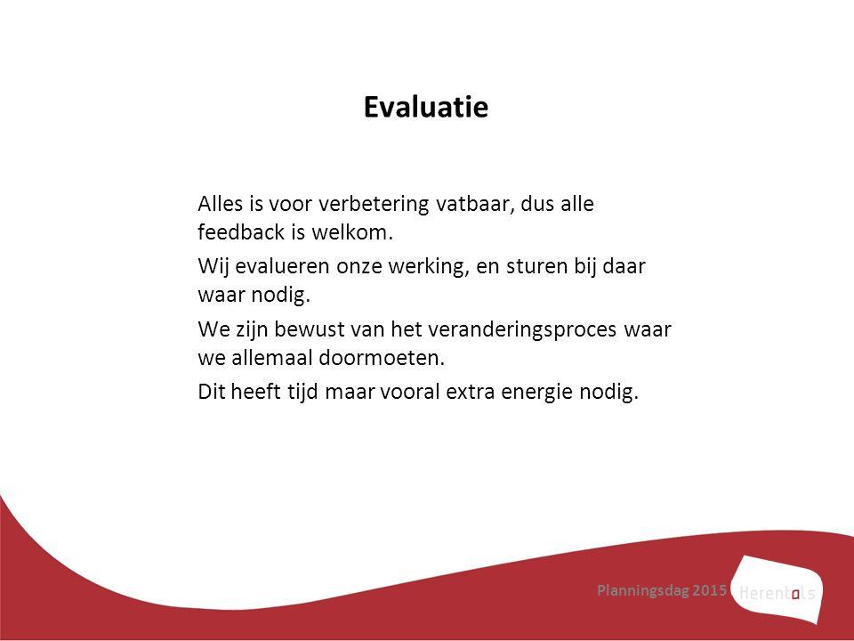 Evaluatie Alles is voor verbetering vatbaar, dus alle feedback is welkom. Wij evalueren onze werking, en sturen bij daar waar nodig.