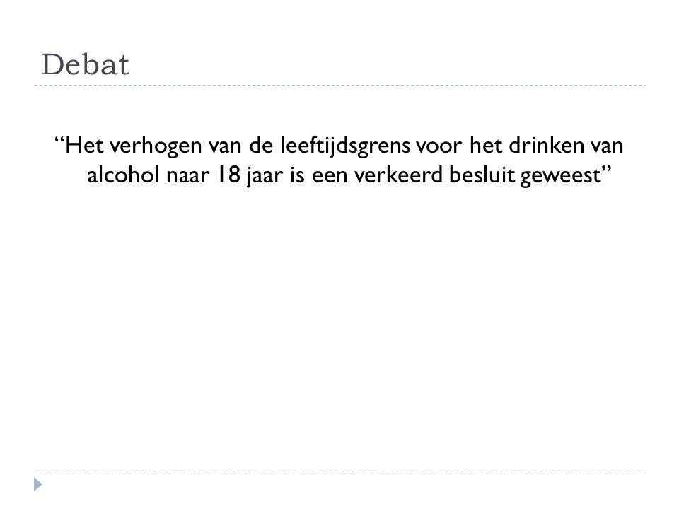 Debat Het verhogen van de leeftijdsgrens voor het drinken van alcohol naar 18 jaar is een verkeerd besluit geweest