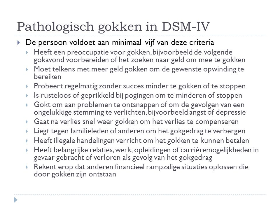 Pathologisch gokken in DSM-IV