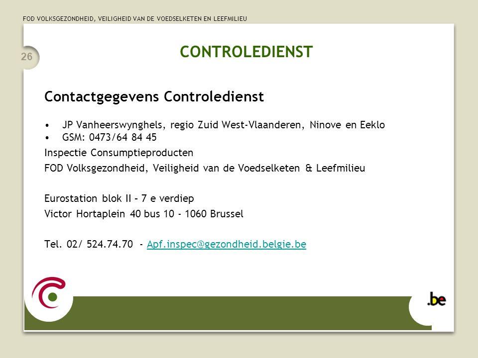 CONTROLEDIENST Contactgegevens Controledienst 26