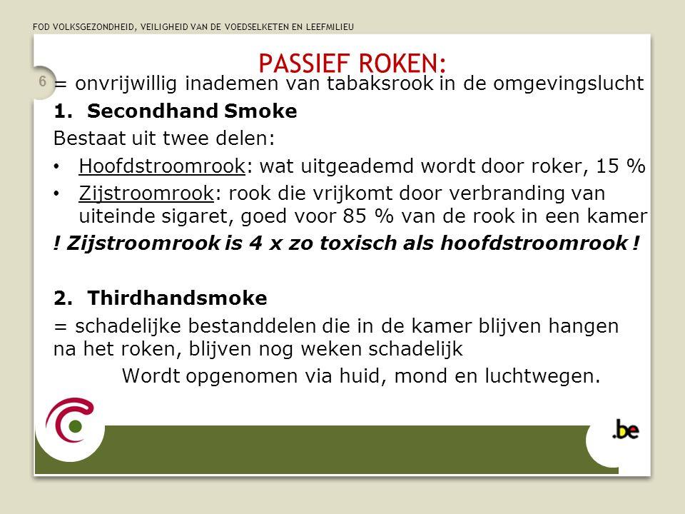 PASSIEF ROKEN: = onvrijwillig inademen van tabaksrook in de omgevingslucht. Secondhand Smoke. Bestaat uit twee delen: