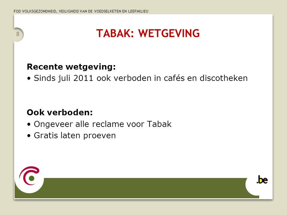 TABAK: WETGEVING Recente wetgeving: