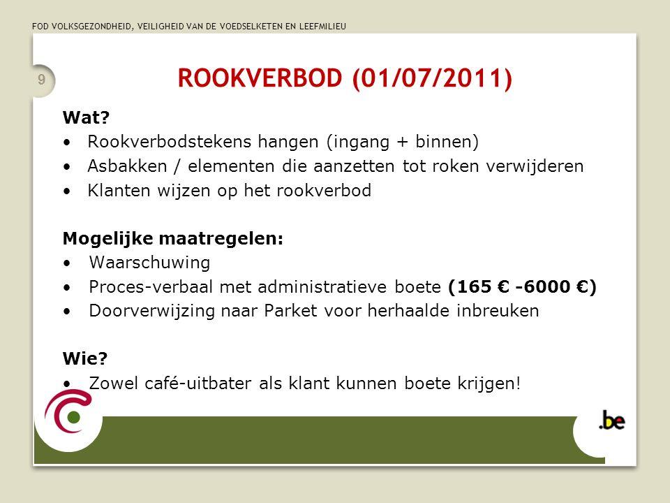 ROOKVERBOD (01/07/2011) Wat Rookverbodstekens hangen (ingang + binnen) Asbakken / elementen die aanzetten tot roken verwijderen.