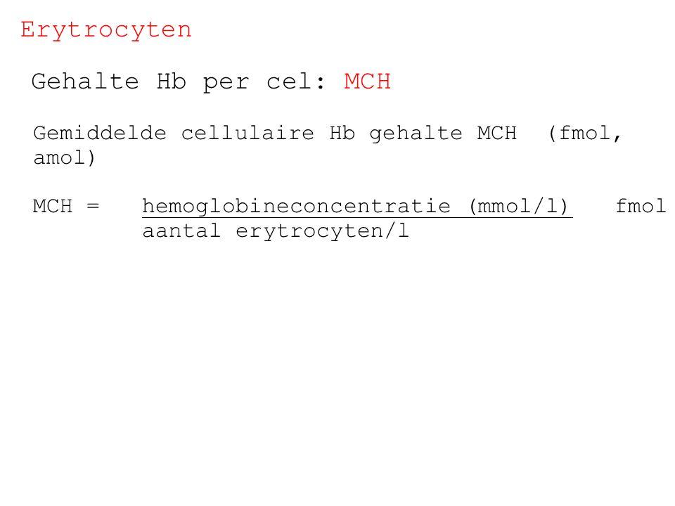 Erytrocyten Gehalte Hb per cel: MCH
