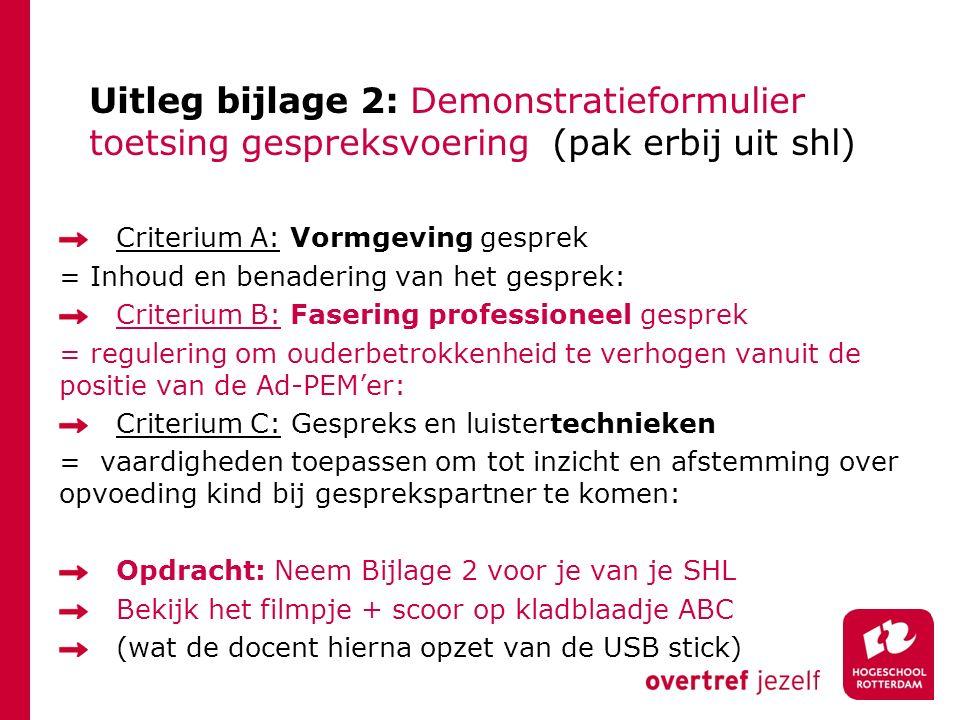 Uitleg bijlage 2: Demonstratieformulier toetsing gespreksvoering (pak erbij uit shl)
