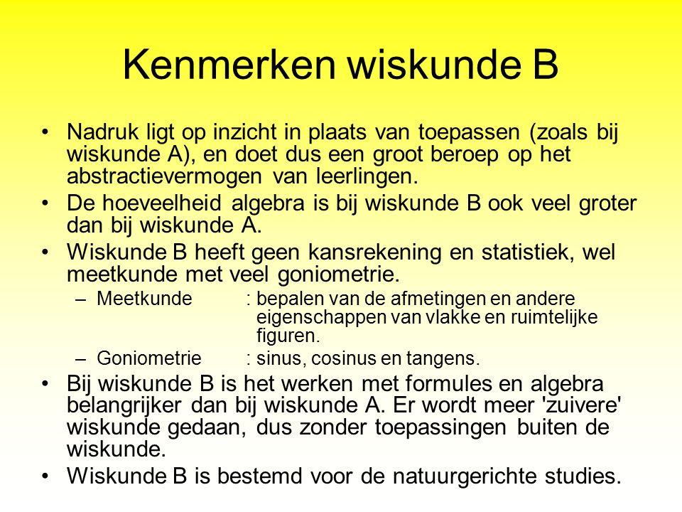Kenmerken wiskunde B
